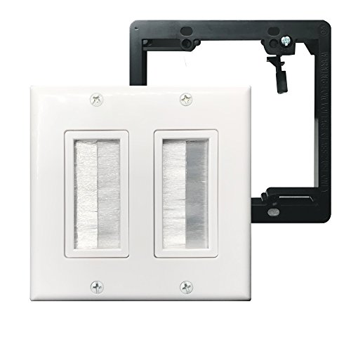 Brush Wall Plate Double 2Gang with Low Voltage Mounting Bracket,Yomyrayhu,Cable Entry Access Strap Pass Through Insert for Wires Works great with Audio/Vedio,HDMI,Home Theater and More ()