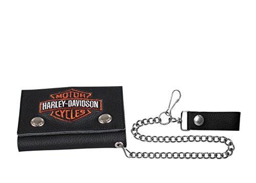 Harley-Davidson Men's Embroidered B&S Trucker Medium Biker Wallet XML4328-ORGBLK (Mens Harley Davidson Wallets)