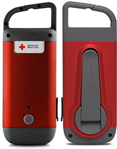 - American Red Cross Clipray Crank-Powered, Clip-On Flashlight & Smartphone Charger, Red