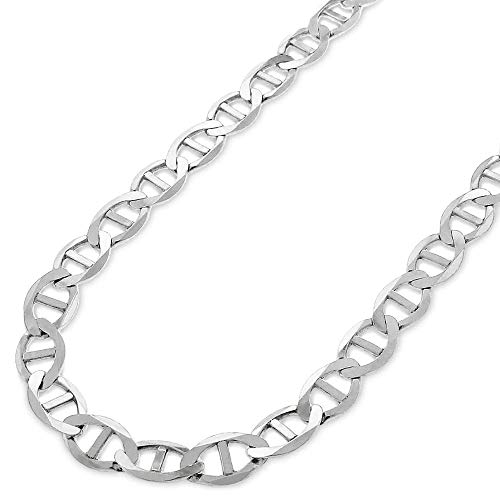 Verona Jewelers 925 Sterling Silver 3.5MM, 4.5MM, 5.5MM, 6.5MM, 8MM Solid Flat Mariner Link Chain Necklace- Sterling Silver Necklace Chain 18