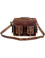 Komals Passion Leather 15 Inch Retro Leather Briefcase Laptop Messenger Bag