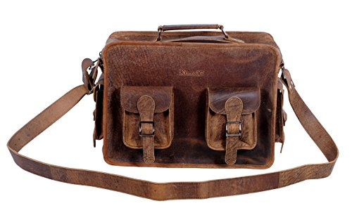 Komal's Passion Leather 15 Inch Retro Leather Briefcase Laptop Messenger Bag by KomalC