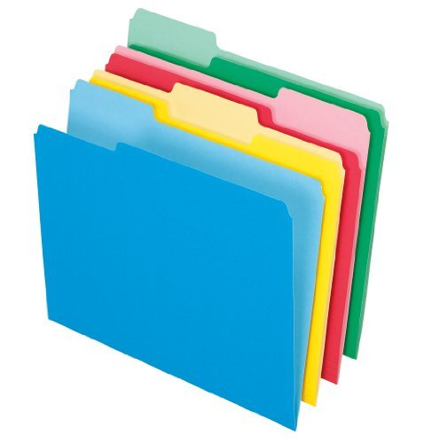 Pendaflex 2-Tone File Folders, 1/3 Cut, Top Tab, Letter Size, Assorted Clrs, 24/Pack (82300) by Pendaflex (Four Tab Letter Assorted)