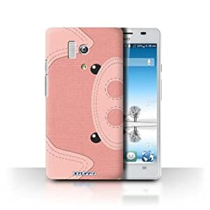 STUFF4 Phone Case / Cover for Huawei Honor 3 / Pig Design / Animal Stitch Effect Collection