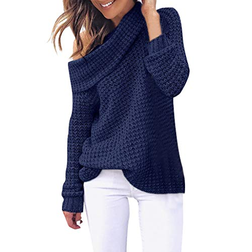 CUCUHAM Women Shoulder Knitting Pullover Long Sleeve Blouse Solid Color Casual Sweater(Navy,XX-Large) ()