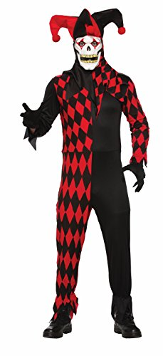 Forum Novelties Men's Evil Jester Costume with Mask, Red/Black, STD -