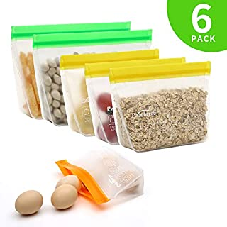 Reusable Storage Bags for Food, EXEcharge 6 Pcs Stand-Up Freezer Ziplock Lunch Bags, Leakproof Easy Seal FDA Grade BPA FREE Extra Thick Food Storage Sets for Kitchen Home | Travel | Outdoor Storage