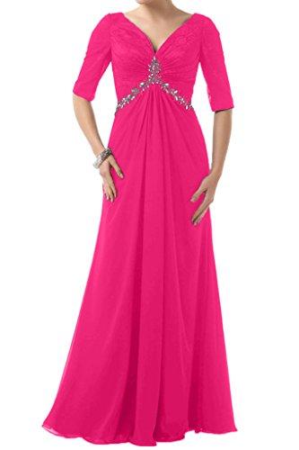 Ivydressing Fuchsie Brautbegleiterinkleid Steine V Chiffon Aermel Damen Abendkleid Halb Festkleid Ausschnitt Lang w1rpwqP