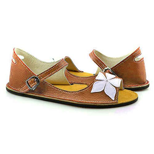 Huaze Women's Large Size Retro Cover Heel Flat Bottom Shoes Large Size Buckle-Strap Flower Sandals US:5-9 (Yellow, 5.5)