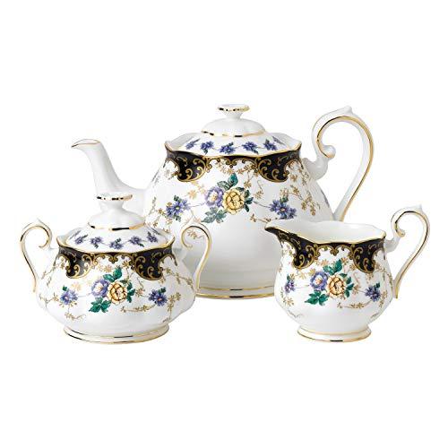 Royal Albert 3 Piece 100 Years 1910 Teapot, Sugar & Creamer Set, Multicolor