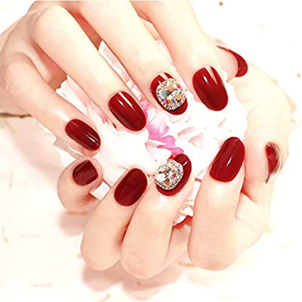 Interookie 24 uñas postizas de estilo largo con pegamento ...