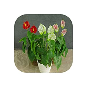 Anthurium Bouquet Calla (18Pcs Leaves + 3 Flowers) Calla Real Touch Wedding Display Artificial Home Flower 70