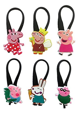 Peppa Pig Silicone Snap Lock Zipper Pulls 6 Pcs Set #1 (Peppa Pig George Boots)