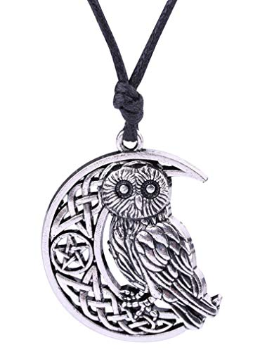 Vintage Celtic Knot Goddness Symbol Owl Cresent Moon with Pentacle Pendant Spiritual Animal Necklace for Gifts (Antique ()