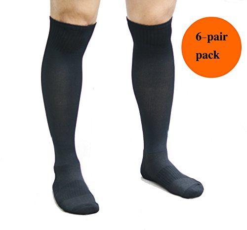 David & D Athletic Over the Calf Compression Crew Socks for Mens and Boys - Black/Red/White (Black (6/Pack))