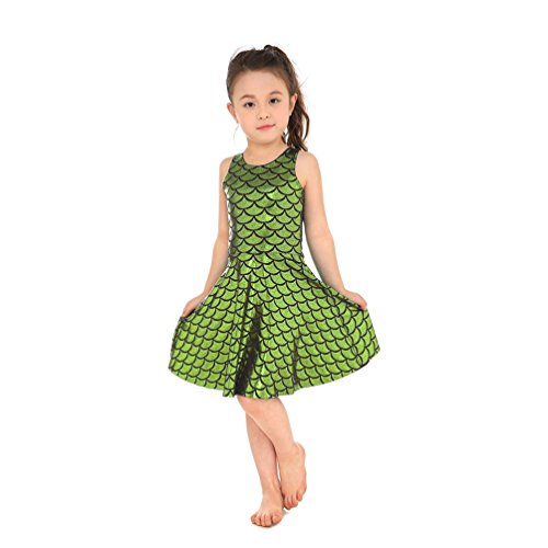 Lesubuy Shiny Light Green Mermaid Tail Fish Scales Girl's Cute Party Pleated Dress Large ()