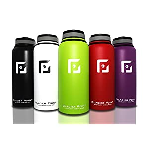 Best Vacuum Insulated Stainless Steel Water Bottle (32 OZ). Double Walled Construction. Powder Coat. Glacier Point (Green)
