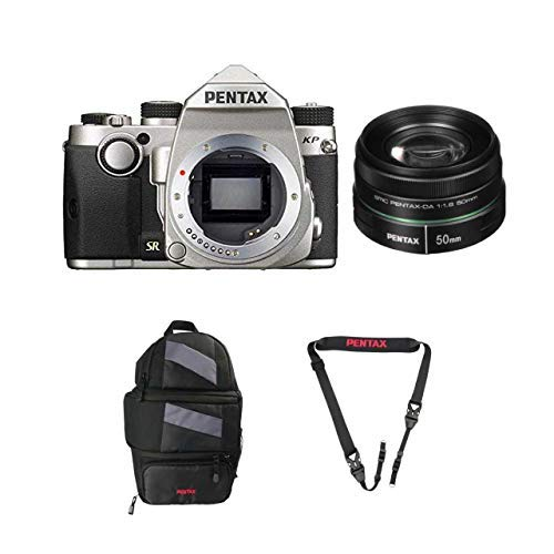 Pentax KP DSLR Camera (Silver) with a Pentax smc DA 50mm f/1.8 Lens 22177 w/ Pentax 85231 Sling Bag 2 and Pentax 85232 Padded DSLR Strap