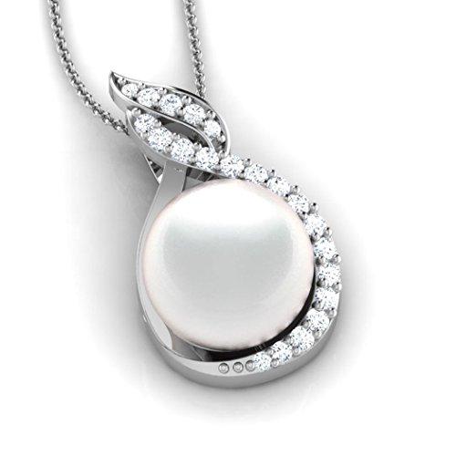 14K jaune Or 0,22CT TW Round-cut-diamond (IJ | SI) et perle Pendentif