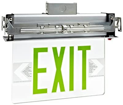 Morris Products 73335 Recessed Mount Edge Lit LED Exit Sign, Green on clear Panel Color, Anodized Aluminum Housing