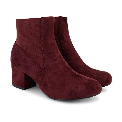 Footwear Sensation - Botas Chelsea mujer burdeos