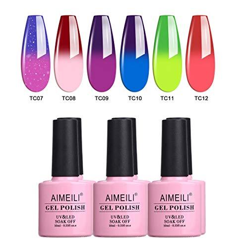 AIMEILI Temperature Color Changing Soak Off UV LED Chameleon Gel Nail Polish Set Of 6pcs X 10ml- Kit Set 15 (For Your Nails Only Color Changing Nail Polish)