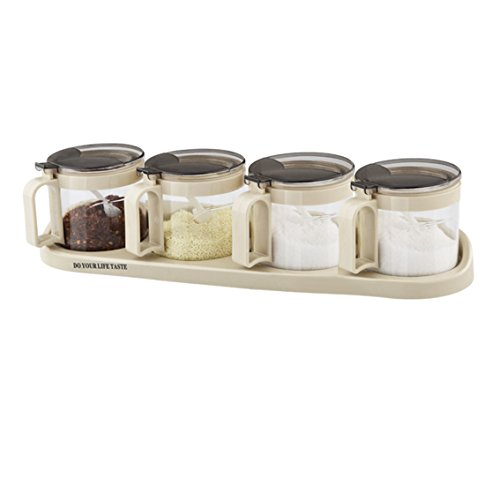 Tenta Kitchen Airtight Glass Seasoning Box Set - 4 Serving Spoons - Non Slip Base - Luxurious Condiment Cruet Bottle Spice Jar Set - 10oz - Paso Store El Indian