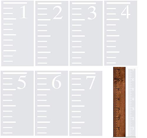 7 Feet Growth Chart Stencil, Kids Height Growth Chart Reusable Ruler Template Painting on Wood, Measuring Kids Height Wall Decor, Rustic Decor for Farmhouse, 7 Pieces