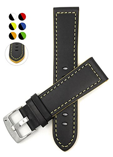 Leather Watch Strap Band, Racer, 22mm, Black with Yellow - Yellow Black And Ferrari