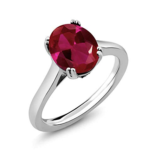 Gem Stone King 4.03 Ct Oval Red Created Ruby White Diamond 925 Sterling Silver Solitaire Ring (Size 6) (Round Diamond Solitaire Engagement Ring In Sterling Silver)