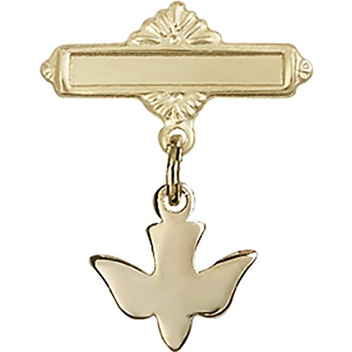 14kt Yellow Gold Baby Badge with Holy Spirit Charm and Polished Badge Pin 7/8 X 5/8 inches by Unknown