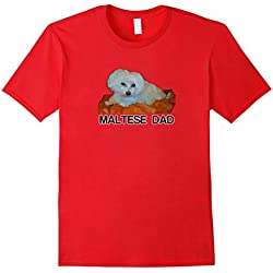 Mens Maltese Dog Dad Tshirt Love Dogs Painting Fathers Day Gift