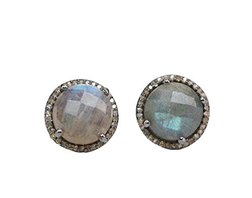 Labradorite Pave diamond Oxidized Sterling Silver Stud Earrings - 12.5 (Oxidized Silver Diamond)