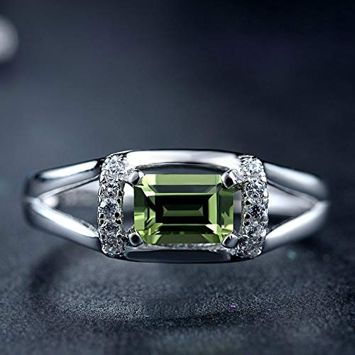 Xuzeyun Ring Emerald Shape Nano Simulated Emerald Cocktail Ring 925 Sterling Silver Birthday, Valentine's Day, Engagement, Promise, we (Color : Silver, Size : Free Size) (1 Carat Emerald Cut Diamond Ring On Hand)