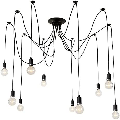 LNC Ceiling Spider Lamp Adjustable DIY 10 Arms Chandeliers Vintage Edison Style Pendant Lights for Any Rooms Each with 54.5 138cm Wire A0167701, Black
