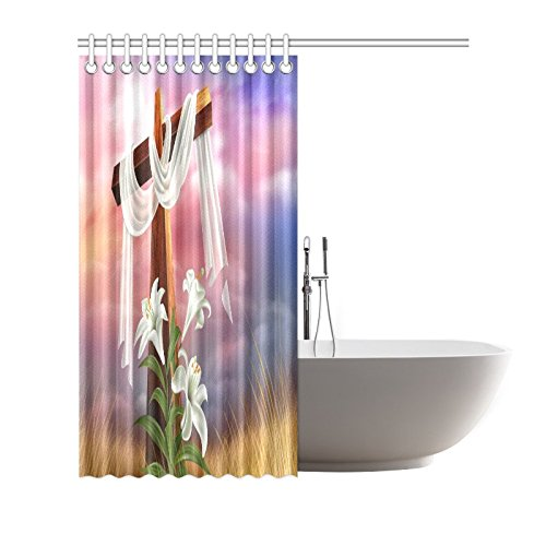 Christian Cross Waterproof Bathroom decor Fabric Shower Curtain Polyester 66 x 72 inches