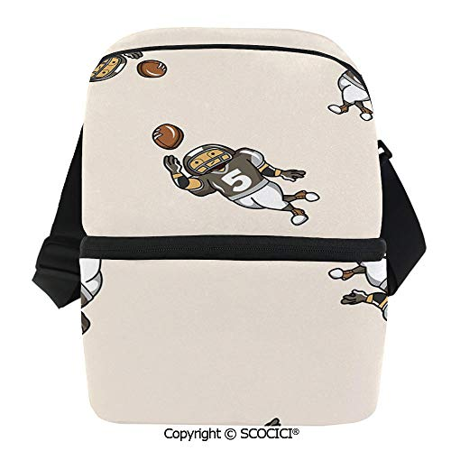 SCOCICI Reusable Insulated Grocery Bags Pattern of Cartoon Player Running with The Ball Training for The Game Rugby Decorative Thermal Cooler Waterproof Zipper Closure Keeps Food Hot Or Cold