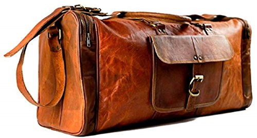 Handmadecraft 'Byto' Vintage Genuine Leather Hold all Travel Bag Brown