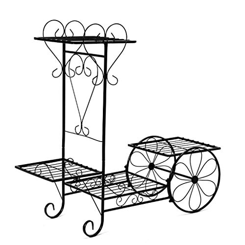 (Wrought Iron Flower Stand Multi-Layer Balcony Floor-Standing Flower Stand cart Flower Shelf (Color : Black, Size : 762670cm))