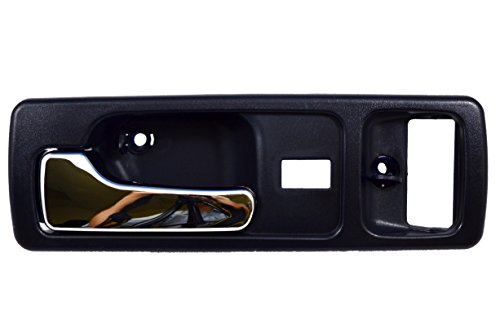 PT Auto Warehouse HO-2380MJ-FL - Inside Interior Inner Door Handle, Blue Housing with Chrome Lever - with Power Lock Hole, 2-Door Coupe, Driver Side (Driver Side Lock Hole)
