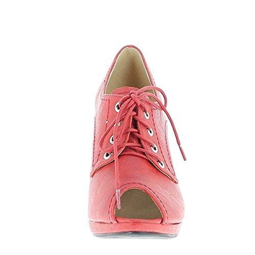 ChaussMoi - Zapatillas de sintético para mujer, color rojo, talla 39
