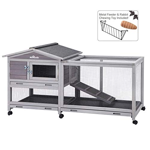 Aivituvin Rabbit Hutch with Run Indoor and Outdoor Bunny cage on Wheels with 3 Deep No Leakage Pull Out Tray,Waterproof Roof