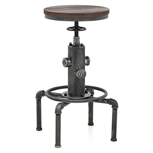 Cheap Topower American Antique Vintage Industrial Barstool Solid Wood Water Pipe Fire Hydrant Design Cafe Coffee Industrial Bar Stool (Silver)