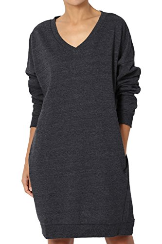 TheMogan Women's Casual V-Neck Pocket Loose Sweatshirt Tunic Charcoal 3XL