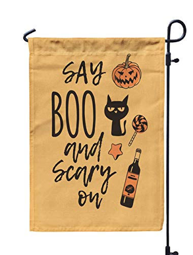 Shorping Farm Garden Flag, 12x18Inch Drawn Pumpkin Cat Candy Cookie Wine and Creative Ink Art Work for Holiday and Seasonal Double-Sided Printing Yards Flags]()