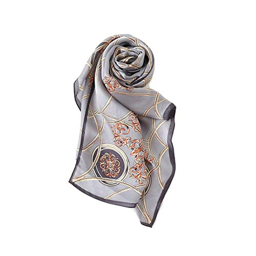 Silk Scarfs For Women, Jeelow 100% Pure Silk Scarves Square 36in Mulberry Or Twill Silk Scarf For Hair (Oblong Grey - Silk Classic Scarf Pure