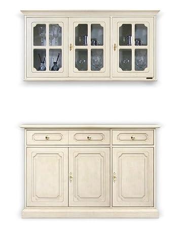 Composizione credenza laccata e vetrina pensile per cucina/sala da ...