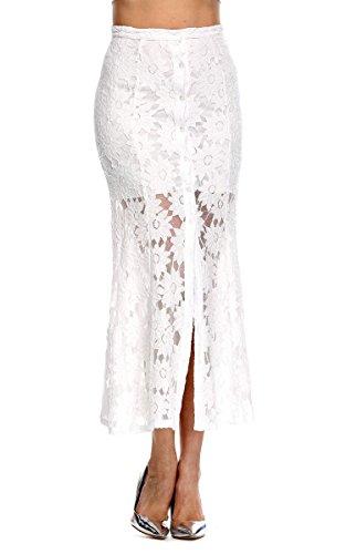 ACEVOG Women's Lace Crochet Hollow Skirt Stretch Pencil Slit Long Maxi Skirt