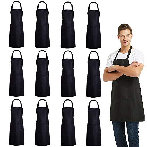 (DUSKCOVE 12 PCS Plain Bib Aprons Bulk - Black Commercial Apron with 2 Pockets for Kitchen Cooking Restaurant BBQ Painting Crafting)