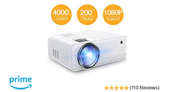 Projector APEMAN Mini Video Projector 4000 Lumen 1080p Supported LED  Portable 50000 Hrs with Dual Built-in Speakers Support HDMI/TF/USB/RCA,  Laptop/TV